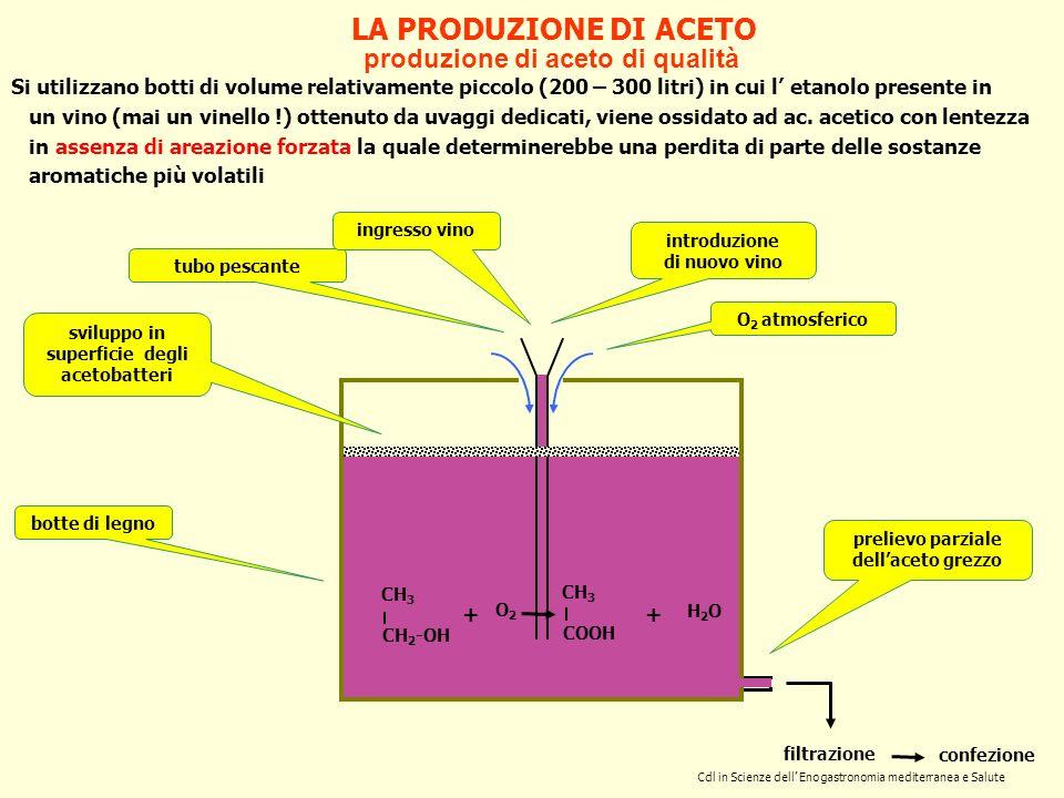 LA PRODUZIONE DI ACETO produzione di aceto di qualità Si utilizzano botti di volume relativamente piccolo (200 – 300 litri) in cui l etanolo presente