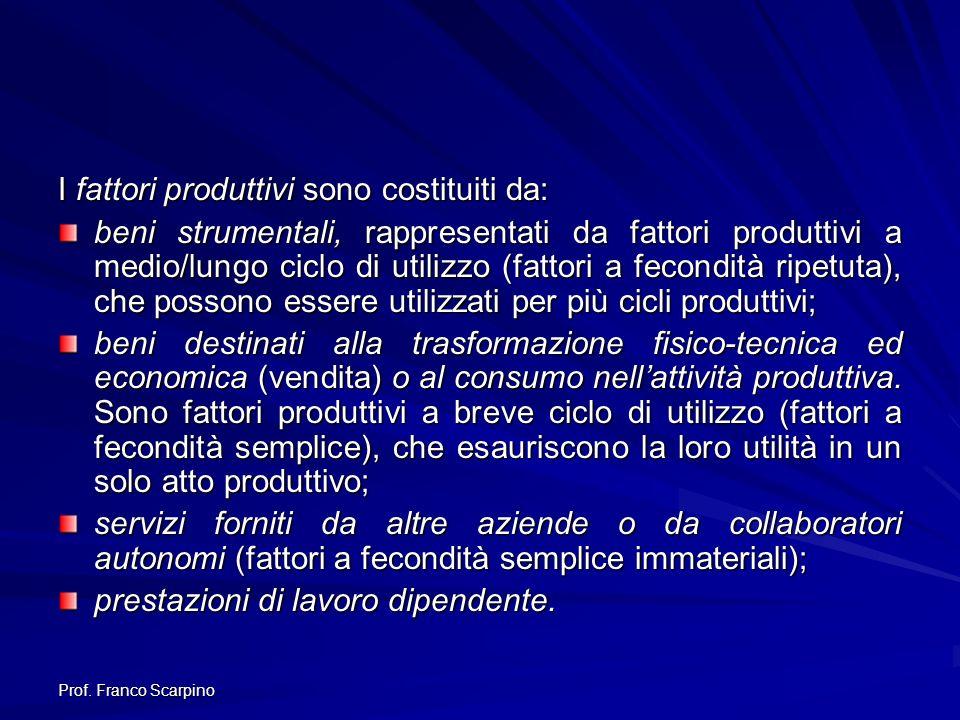 Prof. Franco Scarpino I fattori produttivi sono costituiti da: beni strumentali, rappresentati da fattori produttivi a medio/lungo ciclo di utilizzo (
