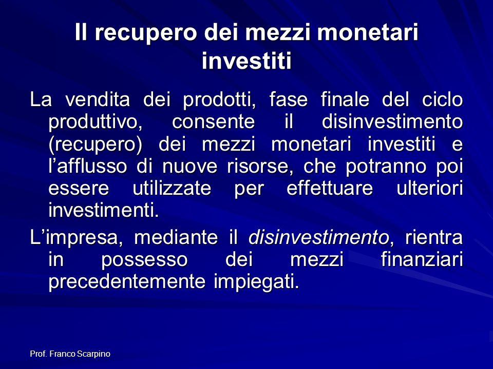 Prof. Franco Scarpino Il recupero dei mezzi monetari investiti La vendita dei prodotti, fase finale del ciclo produttivo, consente il disinvestimento