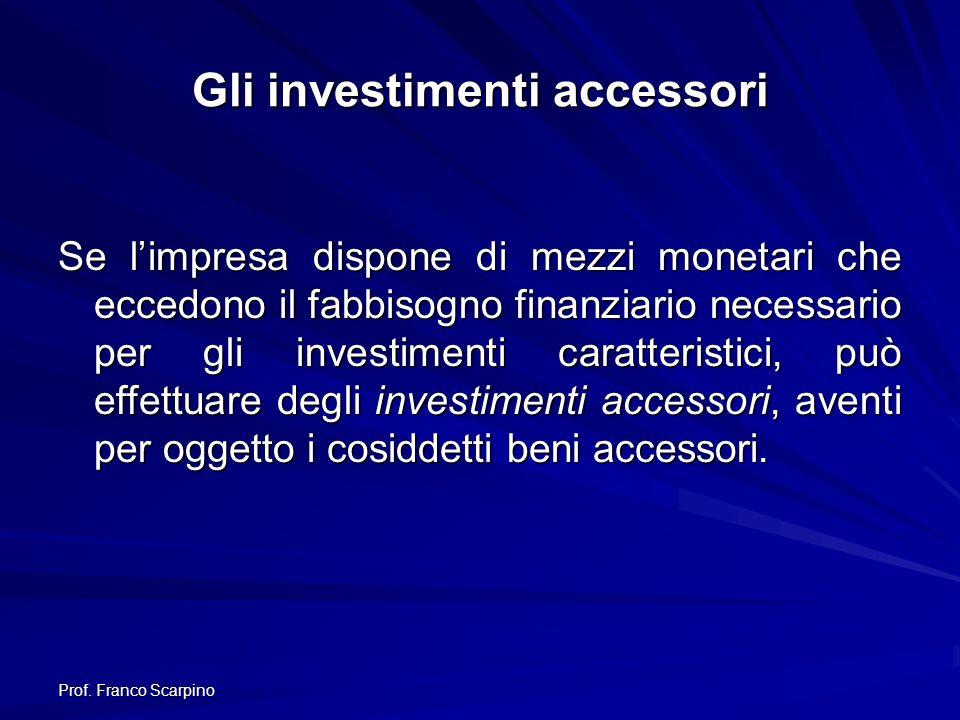 Prof. Franco Scarpino Gli investimenti accessori Se limpresa dispone di mezzi monetari che eccedono il fabbisogno finanziario necessario per gli inves