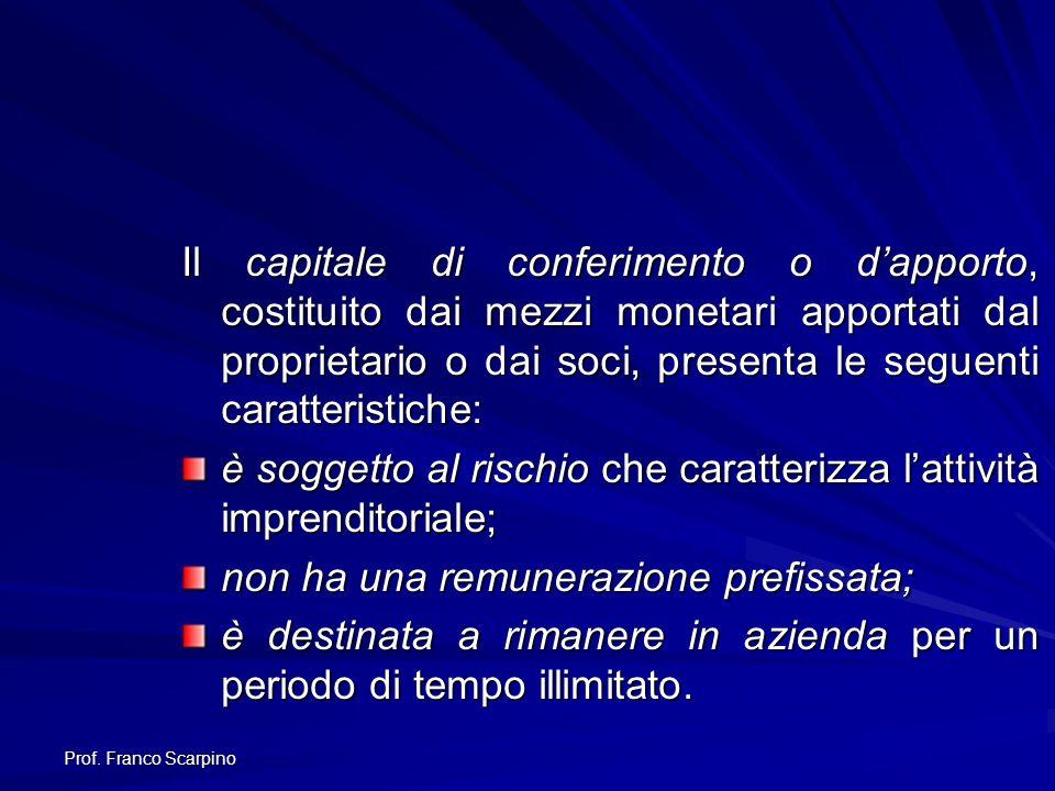 Prof. Franco Scarpino Il capitale di conferimento o dapporto, costituito dai mezzi monetari apportati dal proprietario o dai soci, presenta le seguent