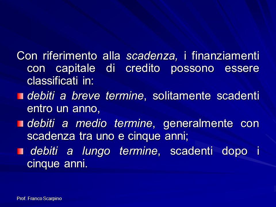 Prof. Franco Scarpino Con riferimento alla scadenza, i finanziamenti con capitale di credito possono essere classificati in: debiti a breve termine, s