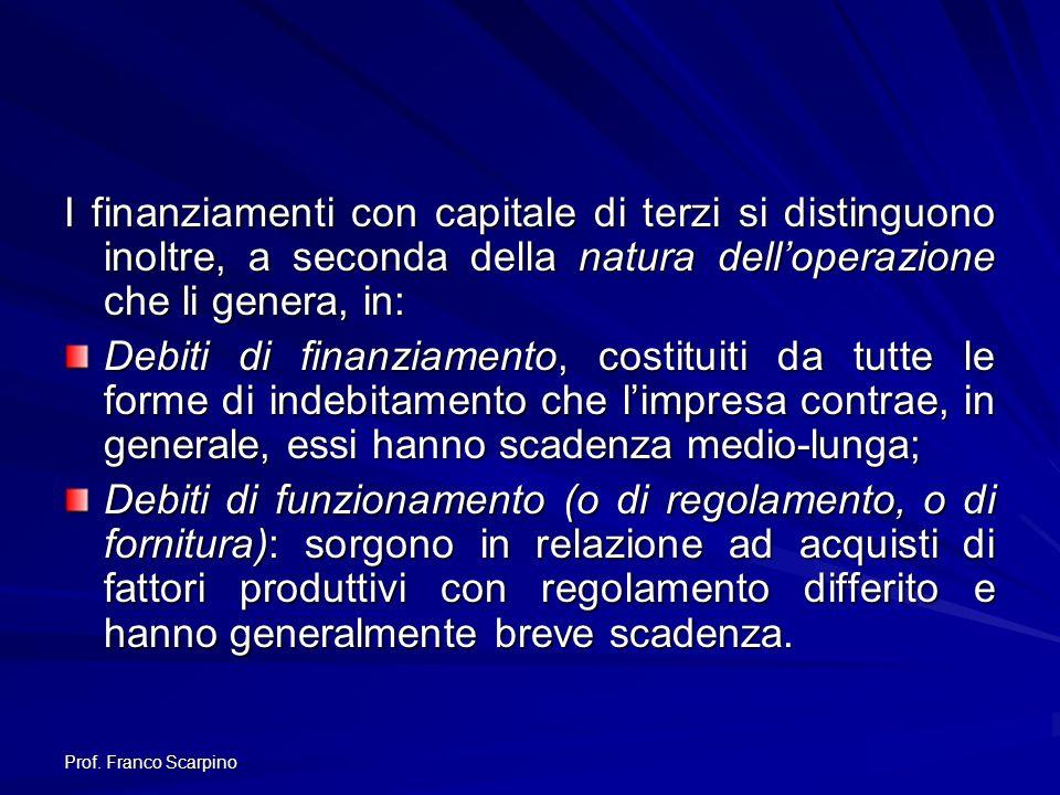 Prof. Franco Scarpino I finanziamenti con capitale di terzi si distinguono inoltre, a seconda della natura delloperazione che li genera, in: Debiti di