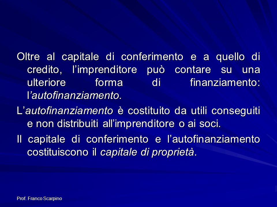 Prof. Franco Scarpino Oltre al capitale di conferimento e a quello di credito, limprenditore può contare su una ulteriore forma di finanziamento: laut