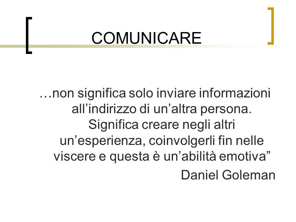 COMUNICARE …non significa solo inviare informazioni allindirizzo di unaltra persona. Significa creare negli altri unesperienza, coinvolgerli fin nelle