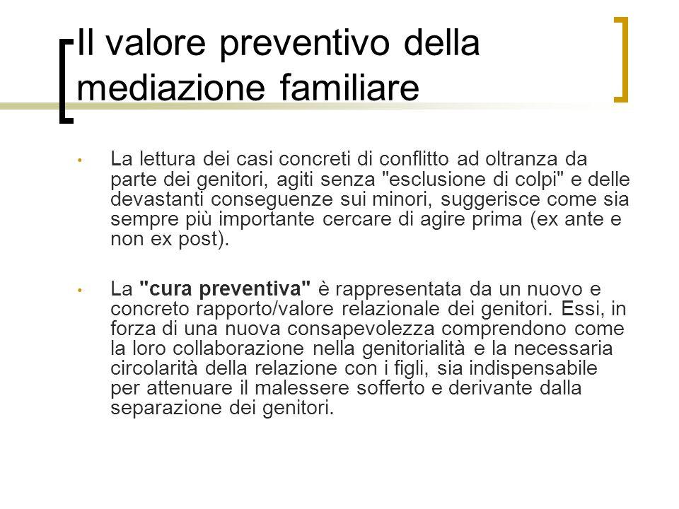 Il valore preventivo della mediazione familiare La lettura dei casi concreti di conflitto ad oltranza da parte dei genitori, agiti senza