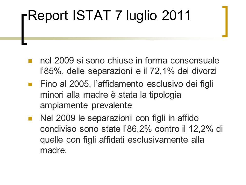Report ISTAT 7 luglio 2011 nel 2009 si sono chiuse in forma consensuale l85%, delle separazioni e il 72,1% dei divorzi Fino al 2005, laffidamento escl