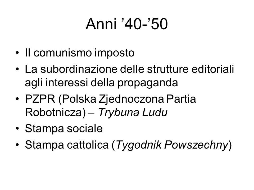 Anni 40-50 Il comunismo imposto La subordinazione delle strutture editoriali agli interessi della propaganda PZPR (Polska Zjednoczona Partia Robotnicz