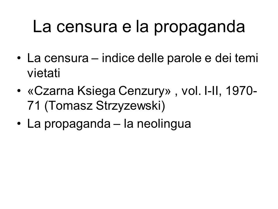 La censura e la propaganda La censura – indice delle parole e dei temi vietati «Czarna Ksiega Cenzury», vol. I-II, 1970- 71 (Tomasz Strzyzewski) La pr
