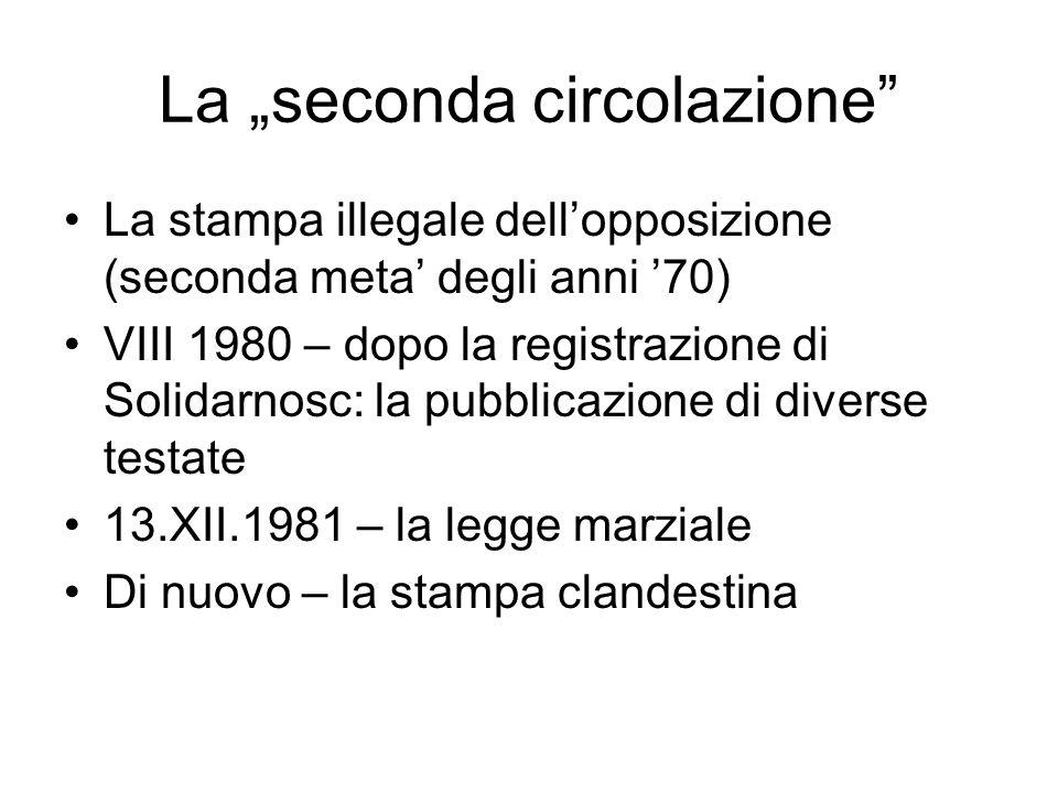 La seconda circolazione La stampa illegale dellopposizione (seconda meta degli anni 70) VIII 1980 – dopo la registrazione di Solidarnosc: la pubblicaz