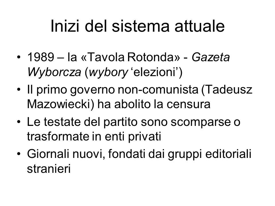 Inizi del sistema attuale 1989 – la «Tavola Rotonda» - Gazeta Wyborcza (wybory elezioni) Il primo governo non-comunista (Tadeusz Mazowiecki) ha abolit