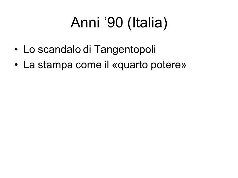 Anni 90 (Italia) Lo scandalo di Tangentopoli La stampa come il «quarto potere»