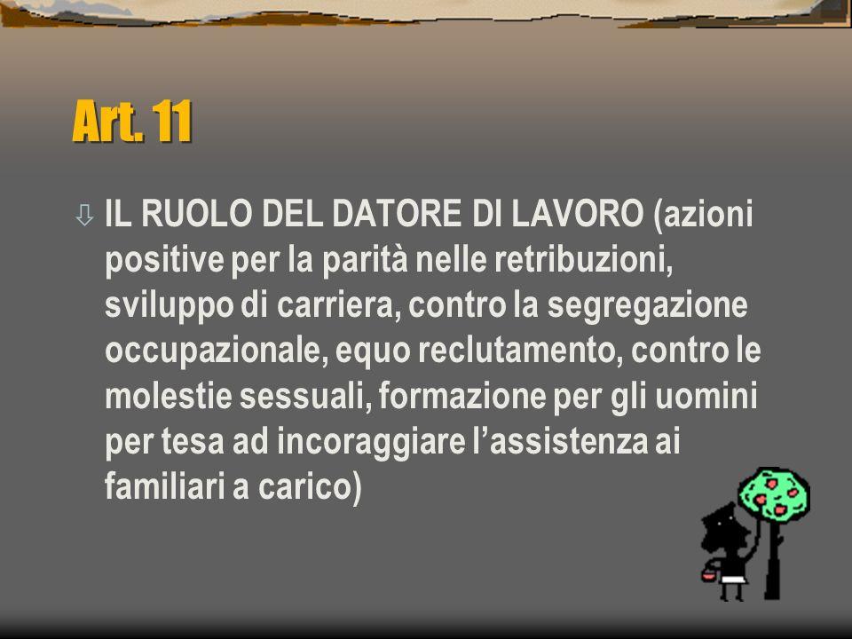Art. 11 ò IL RUOLO DEL DATORE DI LAVORO (azioni positive per la parità nelle retribuzioni, sviluppo di carriera, contro la segregazione occupazionale,