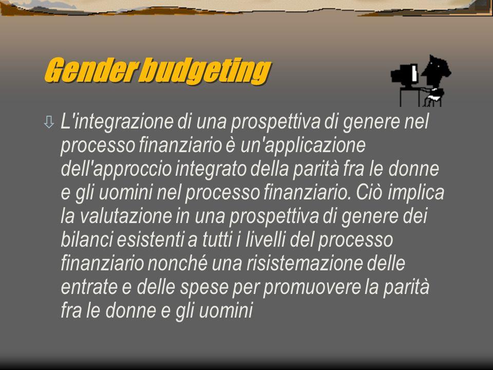 Gender budgeting ò L integrazione di una prospettiva di genere nel processo finanziario è un applicazione dell approccio integrato della parità fra le donne e gli uomini nel processo finanziario.