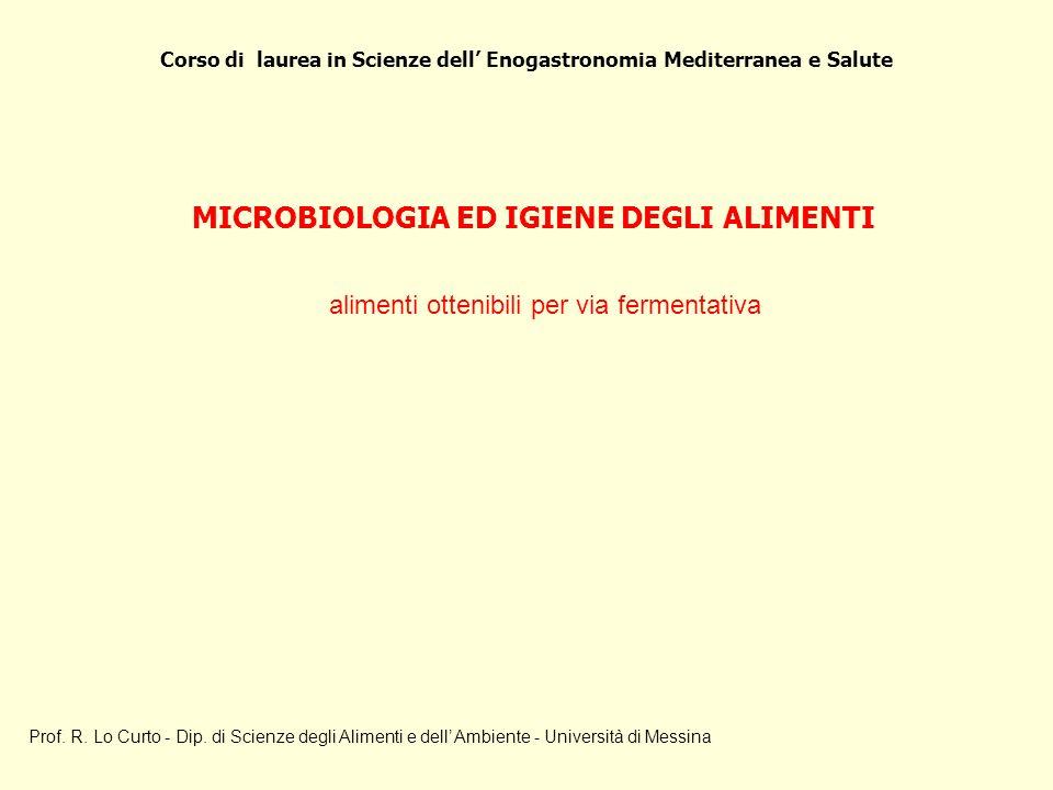 Corso di laurea in Scienze dell Enogastronomia Mediterranea e Salute Prof. R. Lo Curto - Dip. di Scienze degli Alimenti e dell Ambiente - Università d