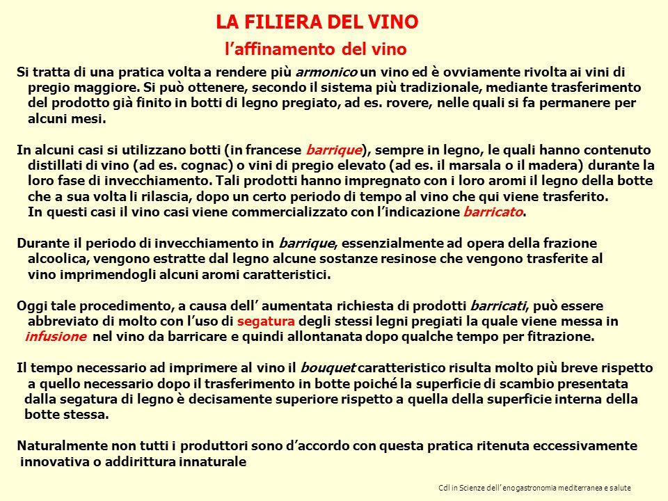 Cdl in Scienze dell enogastronomia mediterranea e salute LA FILIERA DEL VINO laffinamento del vino Si tratta di una pratica volta a rendere più armoni