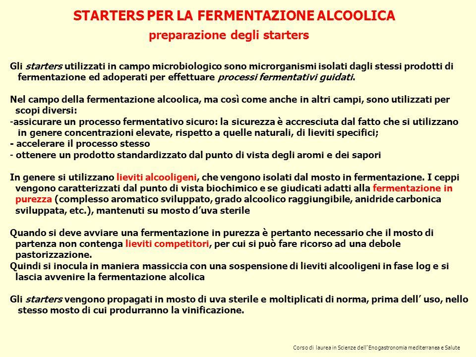 Corso di laurea in Scienze dell Enogastronomia mediterranea e Salute STARTERS PER LA FERMENTAZIONE ALCOOLICA preparazione degli starters Gli starters
