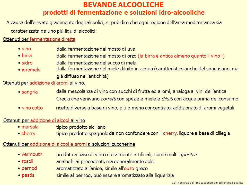 Cdl in Scienze dell Enogastronomia mediterranea e salute Prodotti ottenuti per distillazione di vini duva Prodotti ottenuti per distillazione di vinacce grappa Prodotti ottenuti per distillazione di vini non di uva whiskey dalla distillazione di vini dorzo prodotti di distillazione BEVANDE ALCOOLICHE brandy, cognac, armagnac whiskey canadese dalla distillazione di vini di mais (la chicha deriva dal mais fermentato) maraschino, slivovitz dalla distillazione di vini di ciliegie marasca, con addizione di aromi dalla distillazione di vini di riso sake Naturalmente anche i popoli lontani dall areale mediterraneo hanno prodotto quelli che oggi chiamiamo superalcoolici, utilizzando le fonti di zucchero che il territorio metteva a disposizione: dalla distillazione di vini da bagasse di canna da zucchero rhum dalla distillazione di vini di agave tequila si tratta di un prodotto esclusivamente italiano denominazioni diverse a seconda del luogo di origine: cherry dalla distillazione di vini di ciliege calvadosdalla distillazione del sidro (succo fermentato di mele) Allo scopo di accrescere il tenore alcoolico naturale dei prodotti di fermentazione alcoolica diretta, si è fatto ricorso alla distillazione che permette di separare e recuperare la fase alcolica da una soluzione idro-alcoolica: