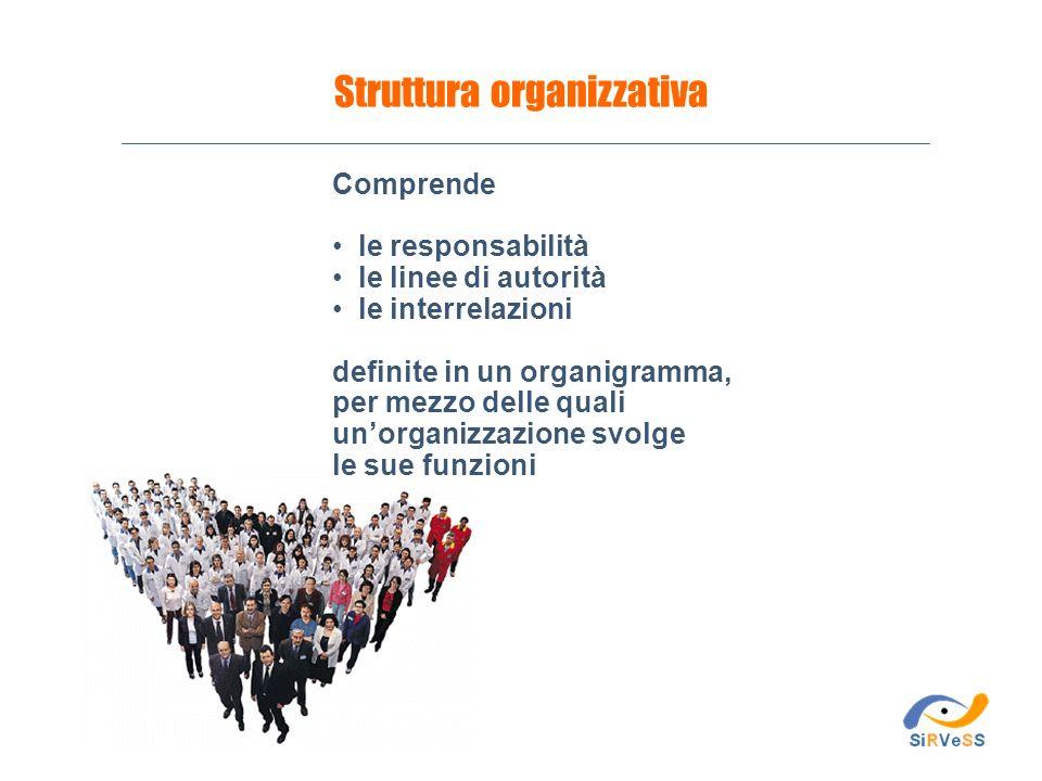 Comprende le responsabilità le linee di autorità le interrelazioni definite in un organigramma, per mezzo delle quali unorganizzazione svolge le sue f