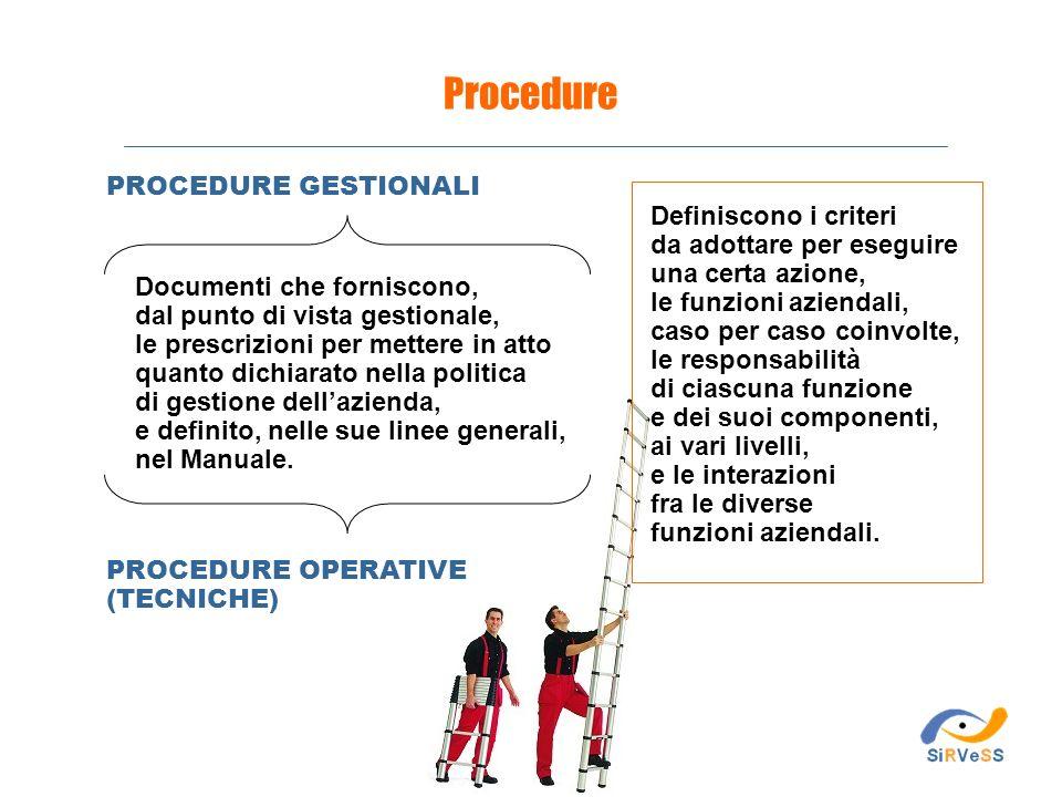 PROCEDURE GESTIONALI Procedure Definiscono i criteri da adottare per eseguire una certa azione, le funzioni aziendali, caso per caso coinvolte, le res