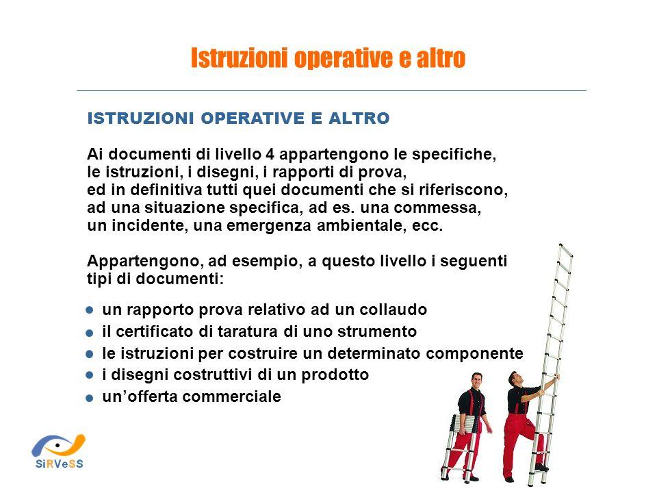 Istruzioni operative e altro un rapporto prova relativo ad un collaudo il certificato di taratura di uno strumento le istruzioni per costruire un dete