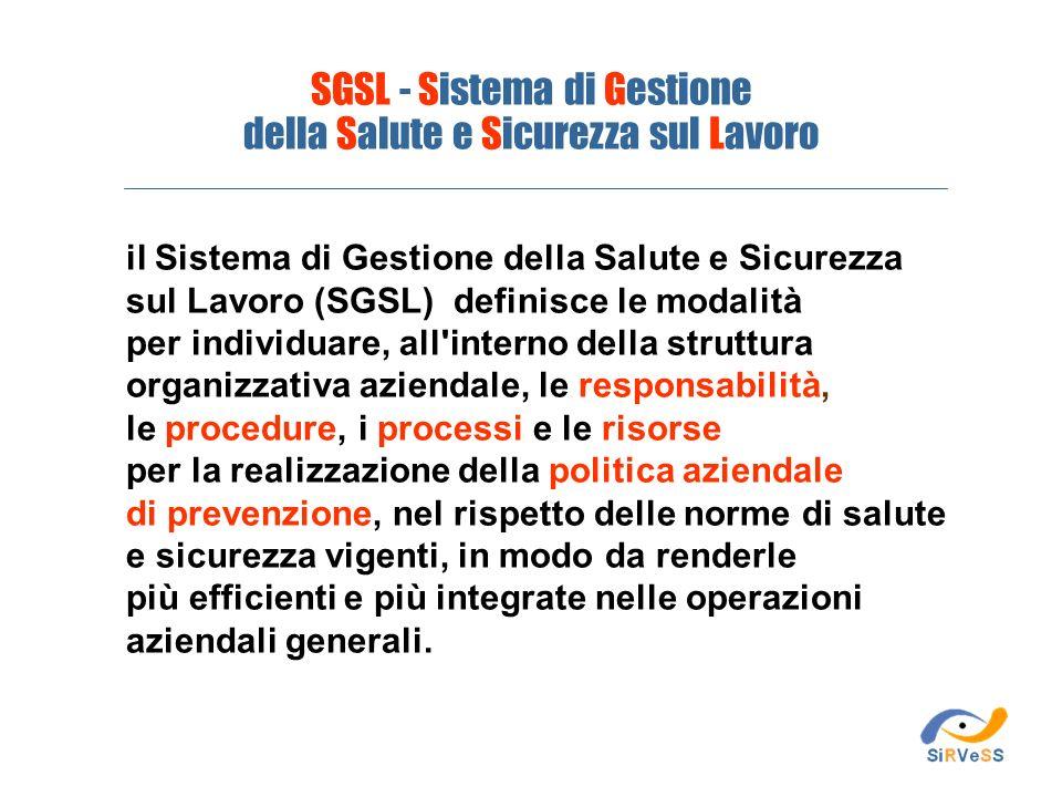 SGSL - Sistema di Gestione della Salute e Sicurezza sul Lavoro il Sistema di Gestione della Salute e Sicurezza sul Lavoro (SGSL) definisce le modalità