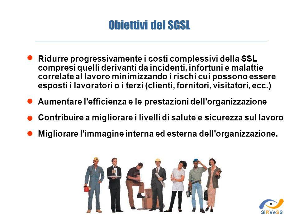 Obiettivi del SGSL Ridurre progressivamente i costi complessivi della SSL compresi quelli derivanti da incidenti, infortuni e malattie correlate al la