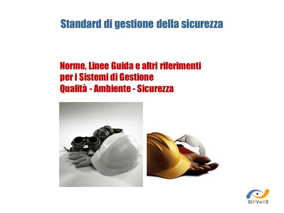Standard di gestione della sicurezza Norme, Linee Guida e altri riferimenti per i Sistemi di Gestione Qualità - Ambiente - Sicurezza