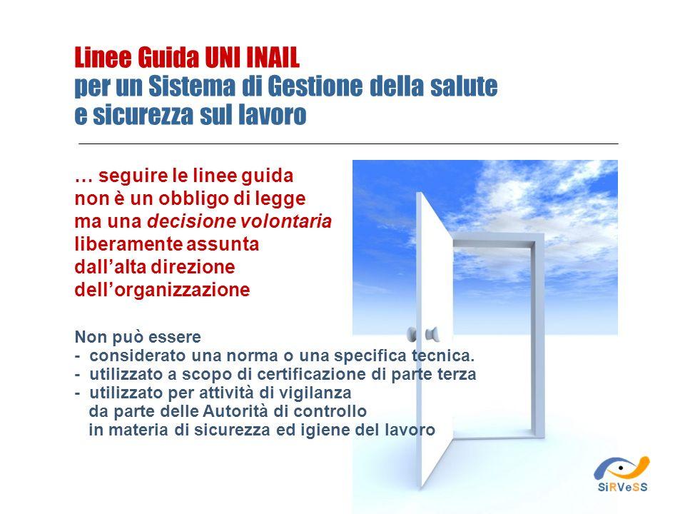 Linee Guida UNI INAIL per un Sistema di Gestione della salute e sicurezza sul lavoro Non può essere - considerato una norma o una specifica tecnica. -