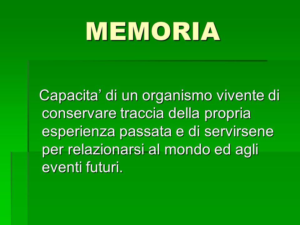 MEMORIA Capacita di un organismo vivente di conservare traccia della propria esperienza passata e di servirsene per relazionarsi al mondo ed agli even