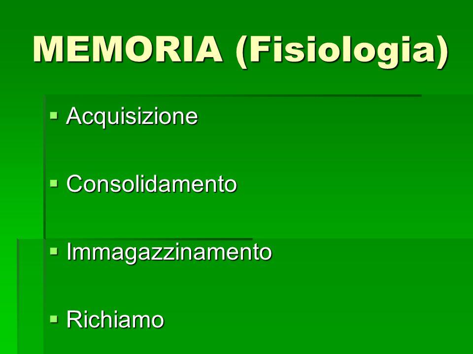 MEMORIA (Fisiologia) Acquisizione Acquisizione Consolidamento Consolidamento Immagazzinamento Immagazzinamento Richiamo Richiamo