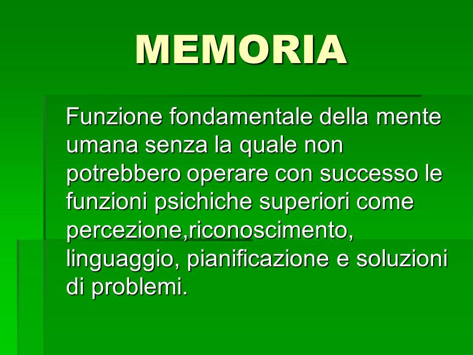 MEMORIA Funzione fondamentale della mente umana senza la quale non potrebbero operare con successo le funzioni psichiche superiori come percezione,ric