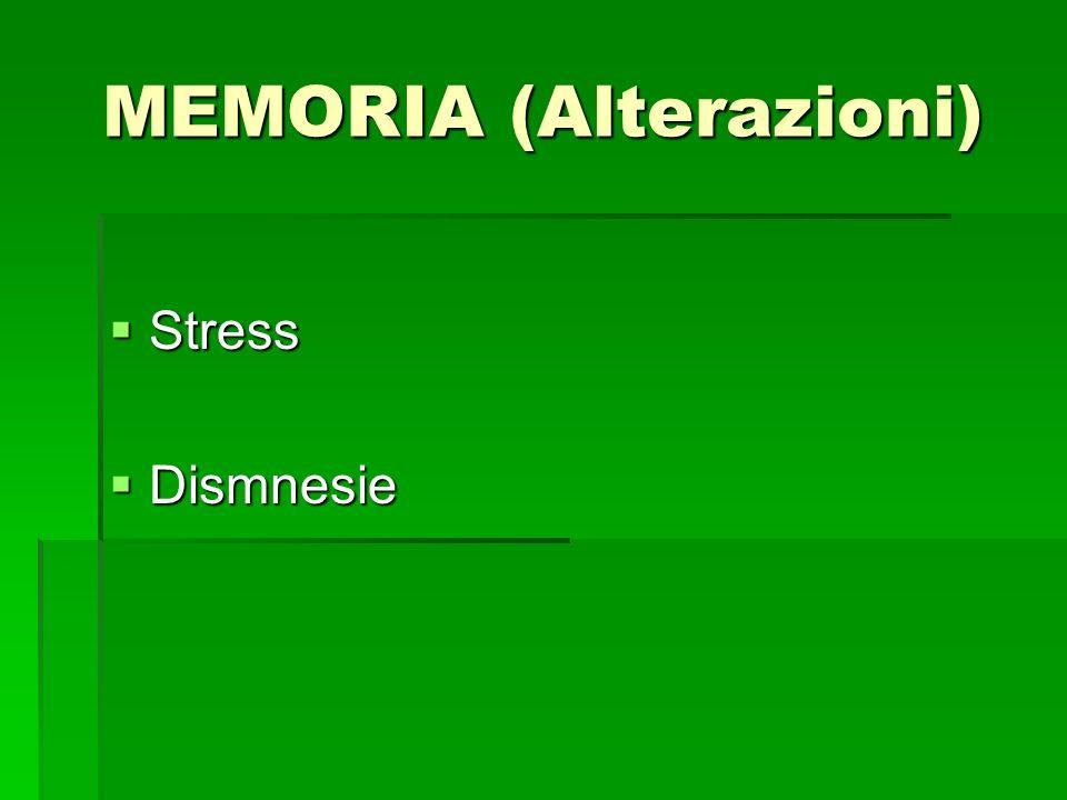 MEMORIA (Alterazioni) Stress Stress Dismnesie Dismnesie