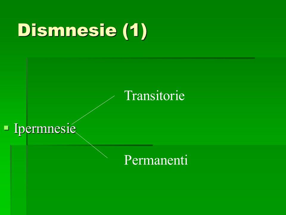 Dismnesie (1) Ipermnesie Ipermnesie Transitorie Permanenti