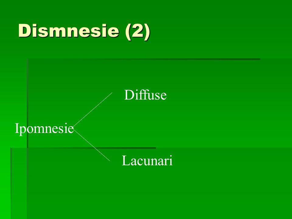 Dismnesie (2) Ipomnesie Diffuse Lacunari
