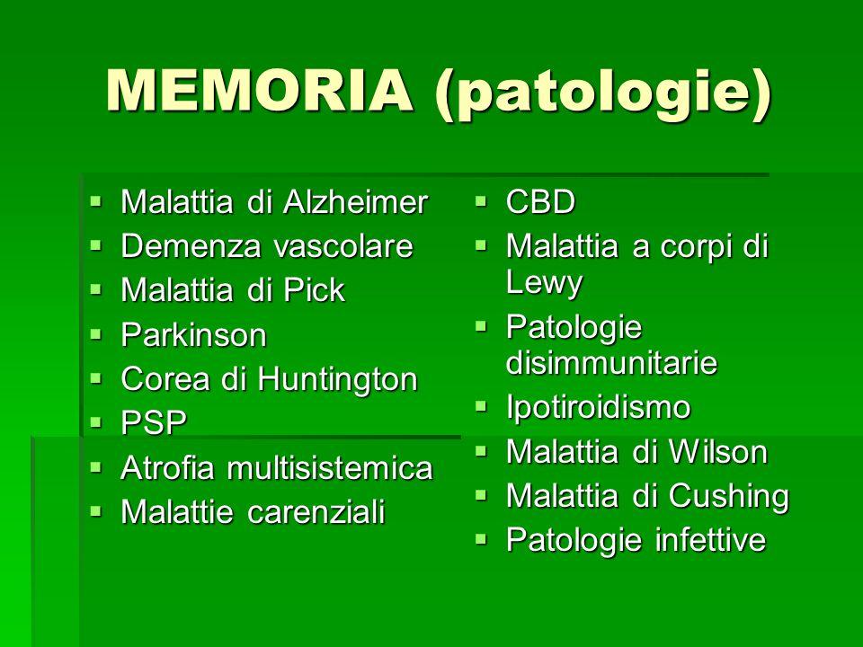 MEMORIA (patologie) Malattia di Alzheimer Malattia di Alzheimer Demenza vascolare Demenza vascolare Malattia di Pick Malattia di Pick Parkinson Parkin