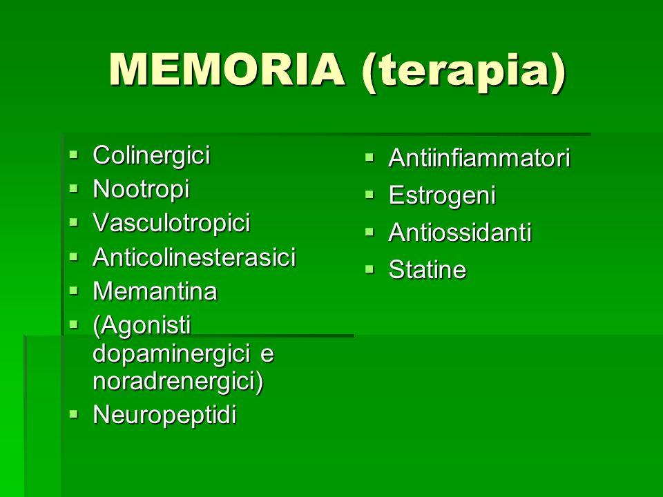 MEMORIA (terapia) Colinergici Colinergici Nootropi Nootropi Vasculotropici Vasculotropici Anticolinesterasici Anticolinesterasici Memantina Memantina