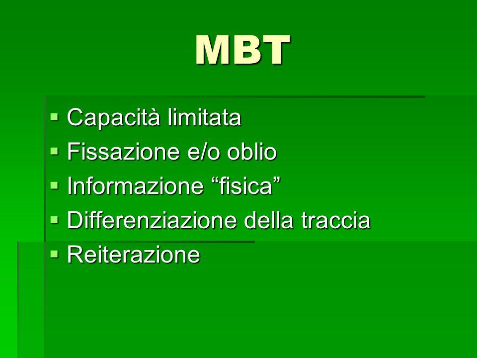 MBT Capacità limitata Capacità limitata Fissazione e/o oblio Fissazione e/o oblio Informazione fisica Informazione fisica Differenziazione della tracc
