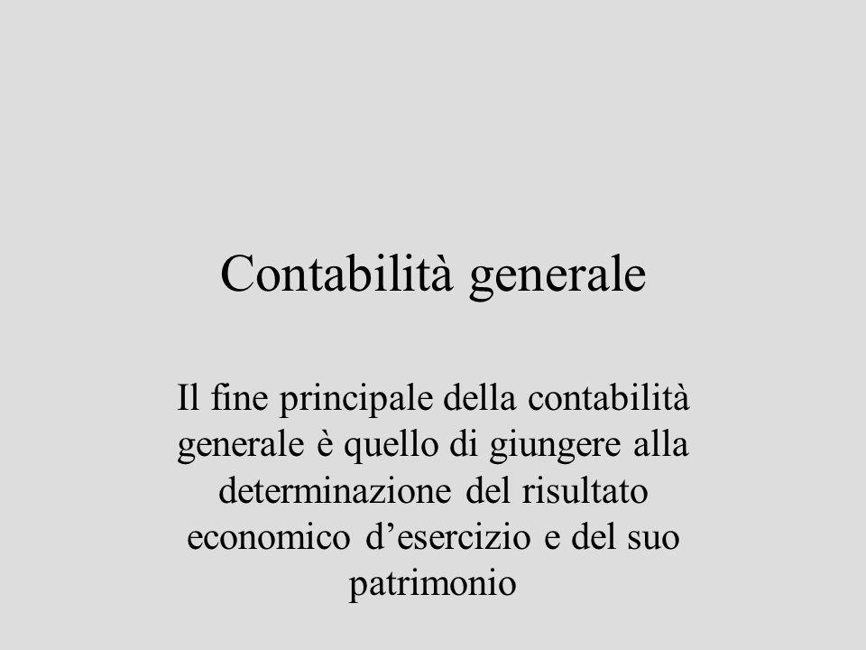 Contabilità generale Il fine principale della contabilità generale è quello di giungere alla determinazione del risultato economico desercizio e del s