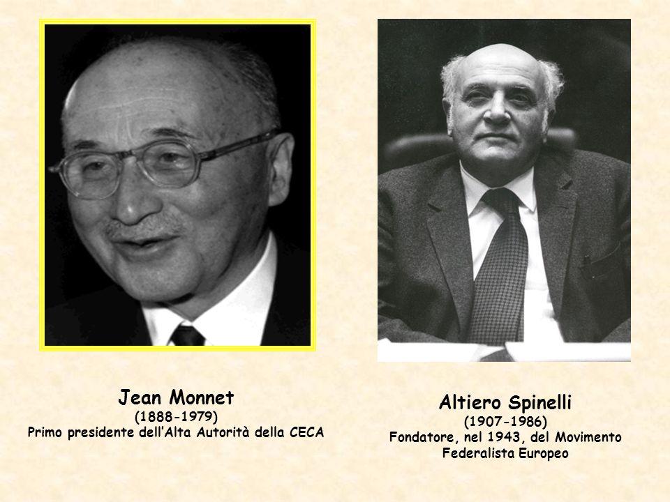 Jean Monnet (1888-1979) Primo presidente dellAlta Autorità della CECA Altiero Spinelli (1907-1986) Fondatore, nel 1943, del Movimento Federalista Euro