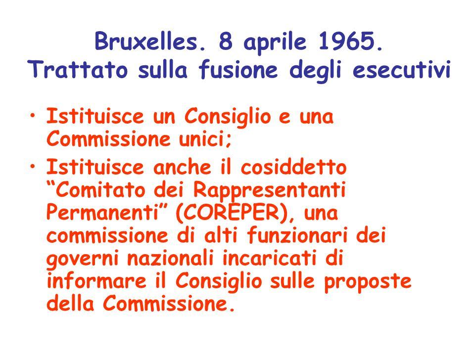 Bruxelles. 8 aprile 1965. Trattato sulla fusione degli esecutivi Istituisce un Consiglio e una Commissione unici; Istituisce anche il cosiddetto Comit