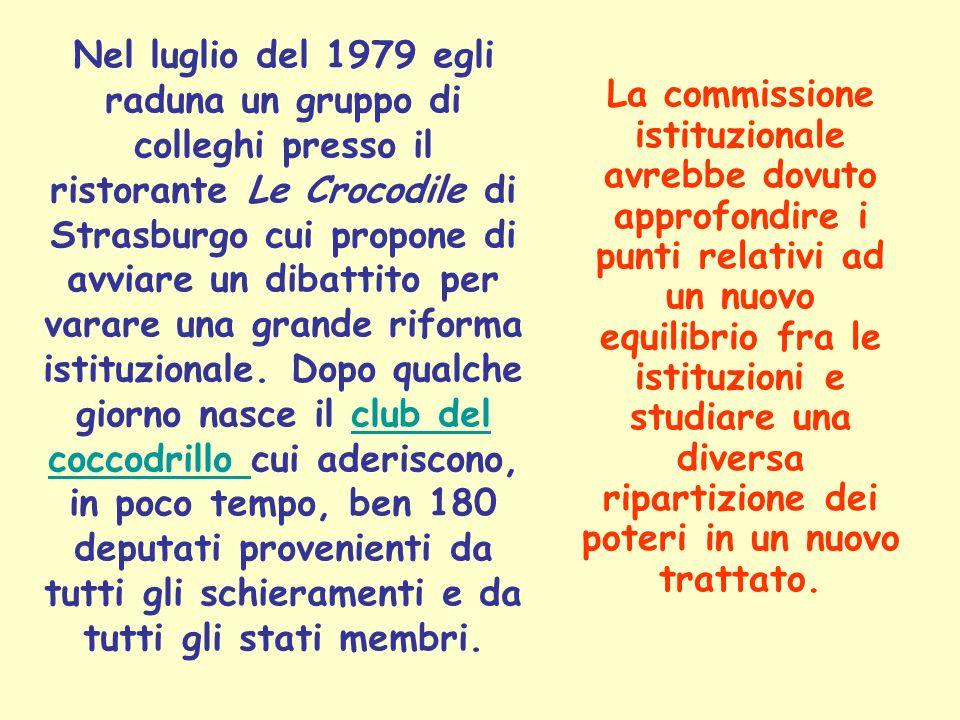 La commissione istituzionale avrebbe dovuto approfondire i punti relativi ad un nuovo equilibrio fra le istituzioni e studiare una diversa ripartizion