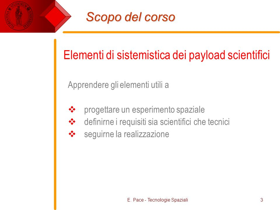 E. Pace - Tecnologie Spaziali3 Scopo del corso Apprendere gli elementi utili a progettare un esperimento spaziale definirne i requisiti sia scientific