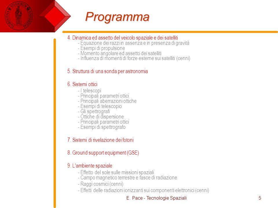 E. Pace - Tecnologie Spaziali5 Programma 4. Dinamica ed assetto del veicolo spaziale e dei satelliti - Equazione dei razzi in assenza e in presenza di
