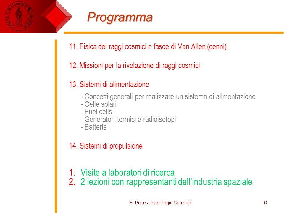 E. Pace - Tecnologie Spaziali6 Programma 11. Fisica dei raggi cosmici e fasce di Van Allen (cenni) 12. Missioni per la rivelazione di raggi cosmici 13