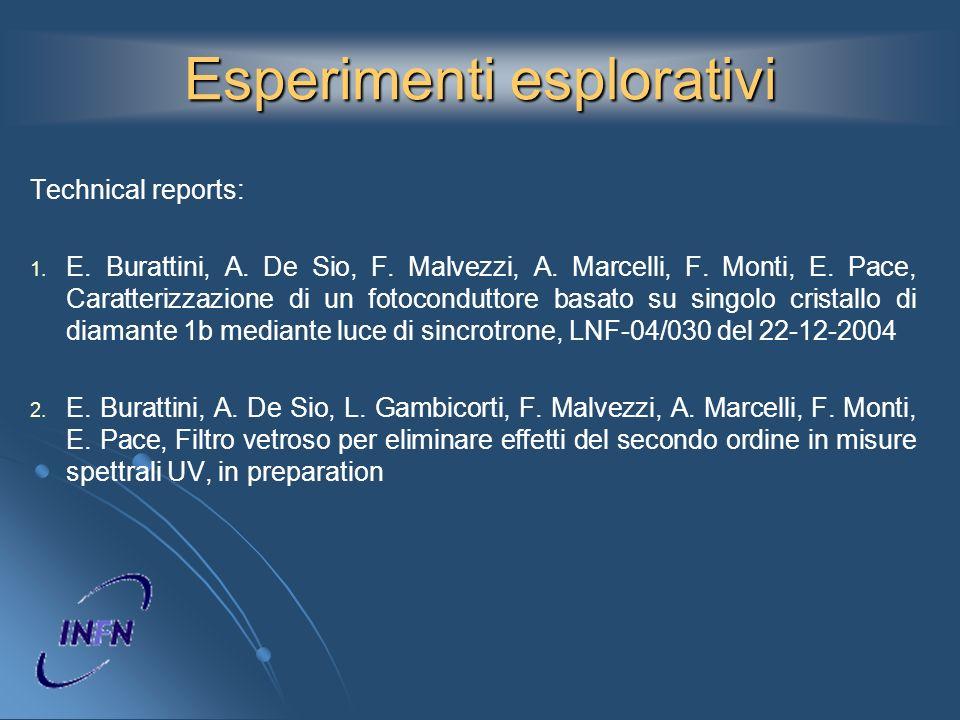 Esperimenti esplorativi Technical reports: 1. 1. E. Burattini, A. De Sio, F. Malvezzi, A. Marcelli, F. Monti, E. Pace, Caratterizzazione di un fotocon