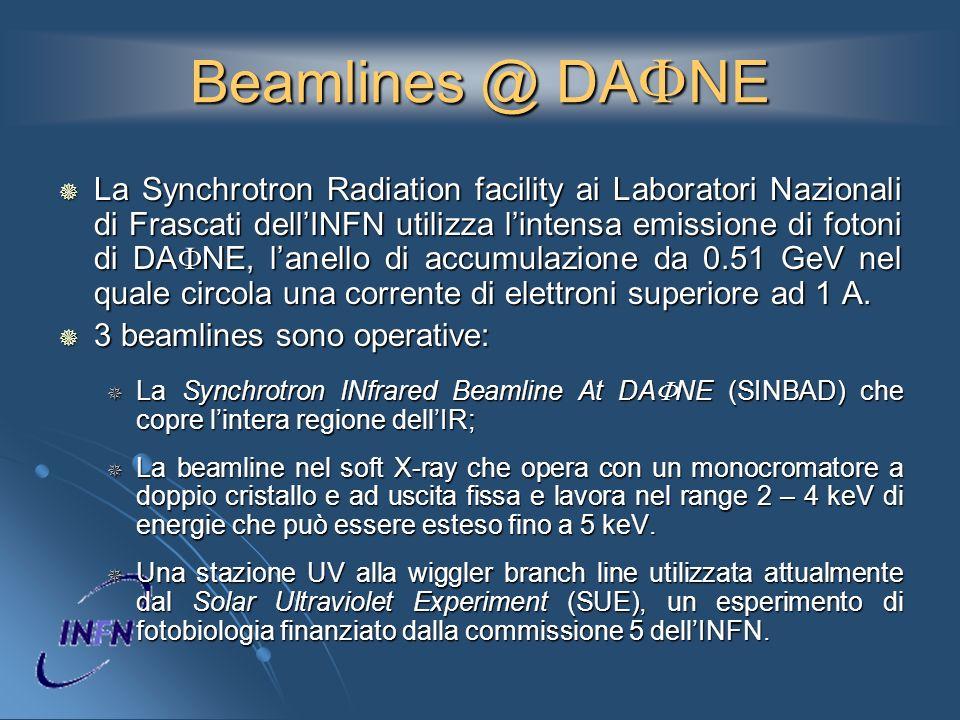 Beamlines @ DA NE La Synchrotron Radiation facility ai Laboratori Nazionali di Frascati dellINFN utilizza lintensa emissione di fotoni di DA NE, lanel