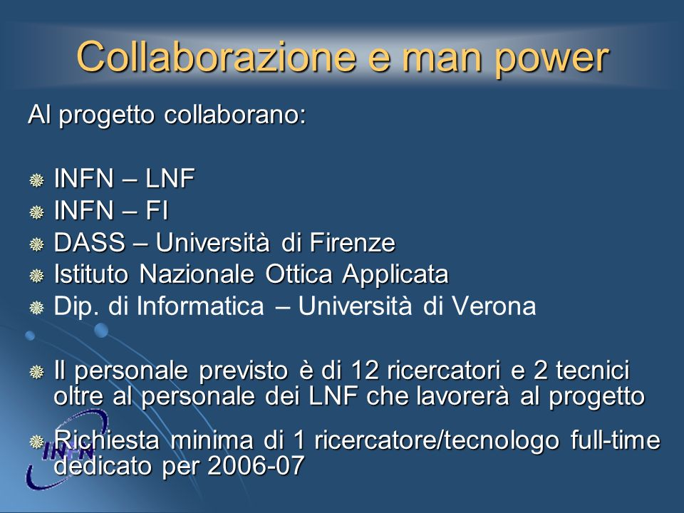 Collaborazione e man power Al progetto collaborano: INFN – LNF INFN – LNF INFN – FI INFN – FI DASS – Università di Firenze DASS – Università di Firenz