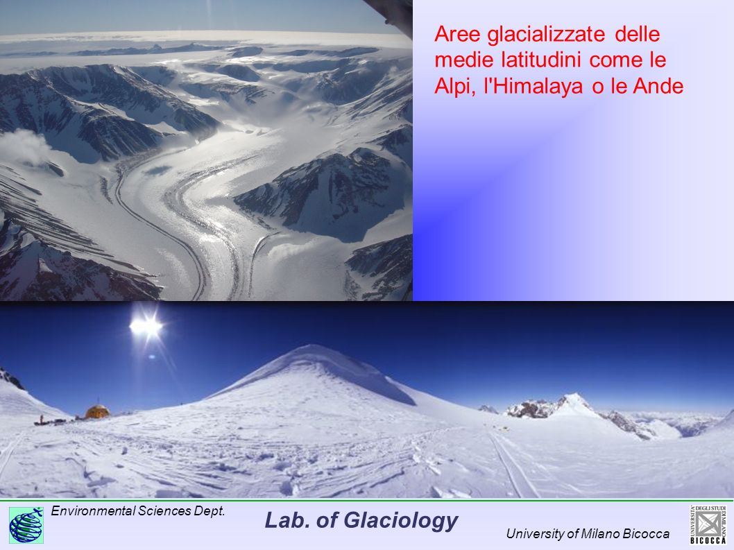 Lab. of Glaciology Environmental Sciences Dept. University of Milano Bicocca Aree glacializzate delle medie latitudini come le Alpi, l'Himalaya o le A