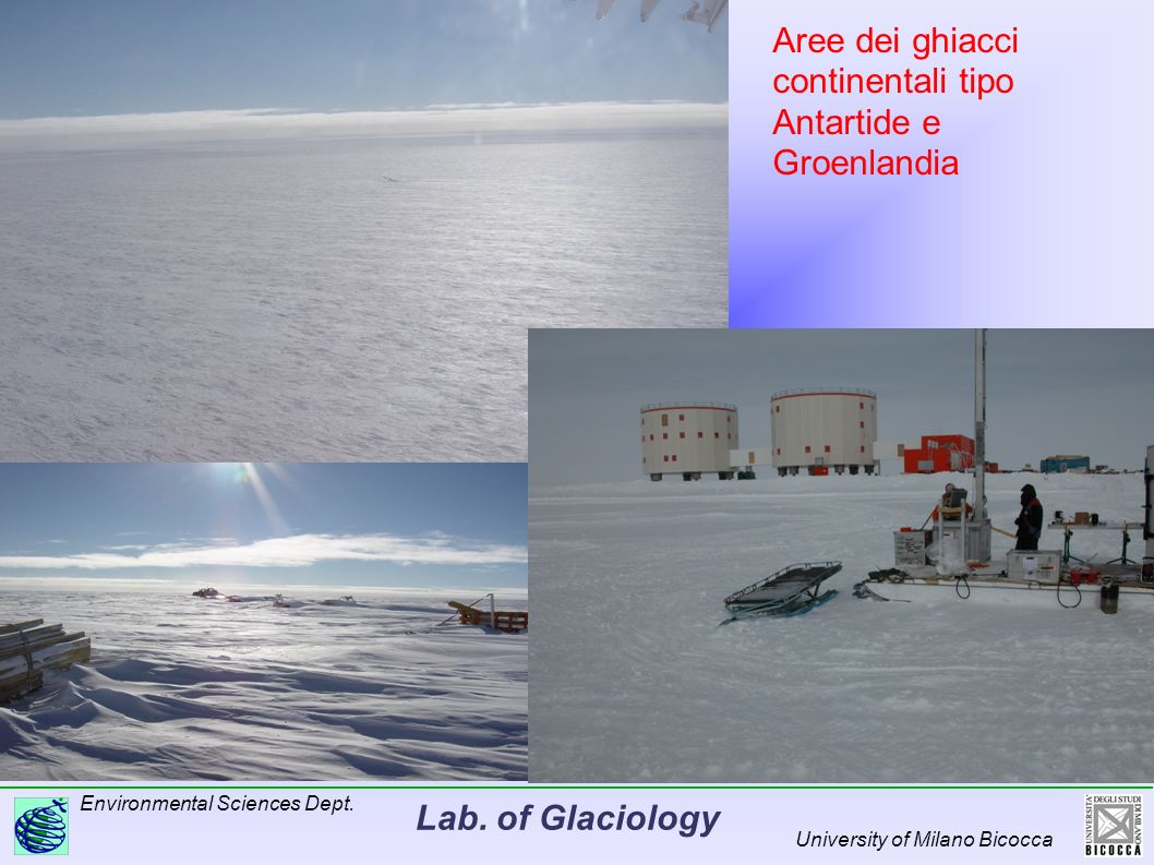 Lab. of Glaciology Environmental Sciences Dept. University of Milano Bicocca Aree dei ghiacci continentali tipo Antartide e Groenlandia
